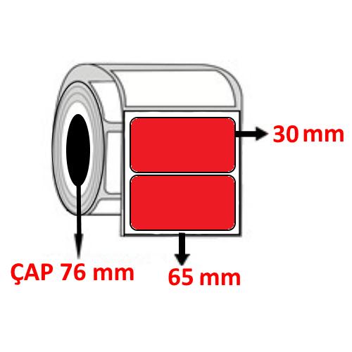 Kırmızı Renkli 65 mm x 30 mm Barkod Etiketi ÇAP 76 mm ( 6 Rulo ) 31.500  ADET