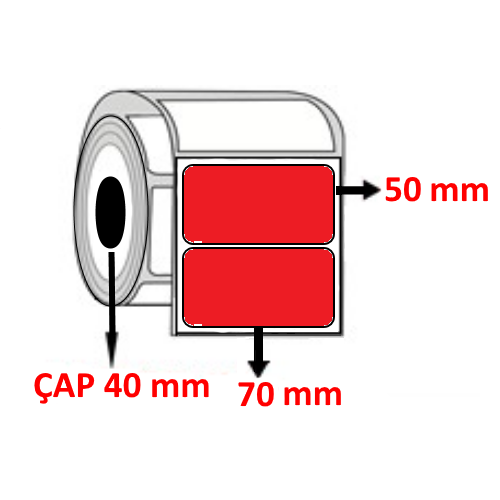 Kırmızı Renkli 70 mm x 50 mm Barkod Etiketi ÇAP 40 mm ( 6 Rulo )