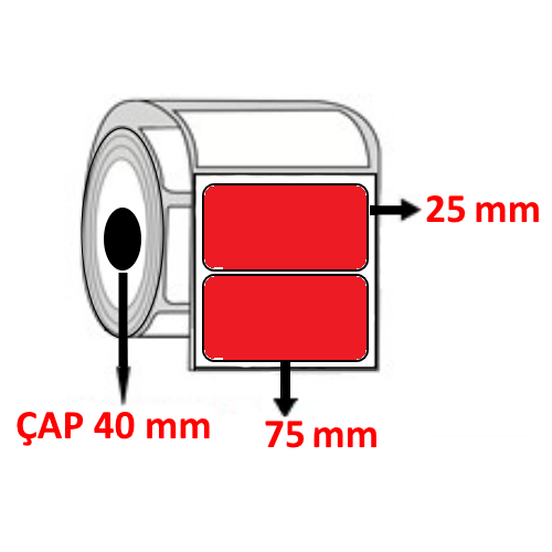 Kırmızı Renkli 75 mm x 25 mm Barkod Etiketi ÇAP 40 mm ( 6 Rulo )