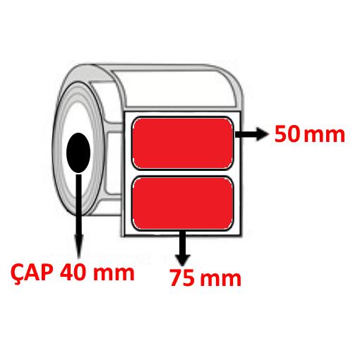 Kırmızı Renkli 75 mm x 50 mm Barkod Etiketi ÇAP 40 mm ( 6 Rulo )