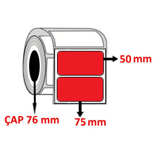 Kırmızı Renkli 75 mm x 50 mm Barkod Etiketi ÇAP 76 mm ( 6 Rulo )