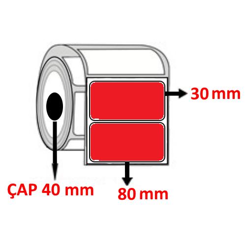 Kırmızı Renkli 80 mm x 30 mm Barkod Etiketi ÇAP 40 mm ( 6 Rulo ) 9.000 ADET