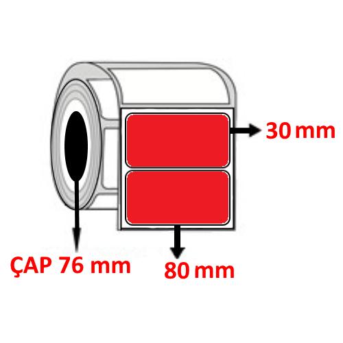 Kırmızı Renkli 80 mm x 30 mm Barkod Etiketi ÇAP 76 mm ( 6 Rulo ) 27.000 ADET