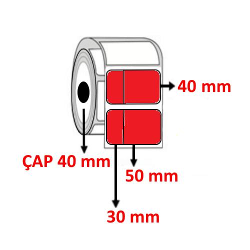 Kırmızı Renkli 80 mm x 40 mm (30/50) Barkod Etiketi ÇAP 40 mm ( 6 Rulo )