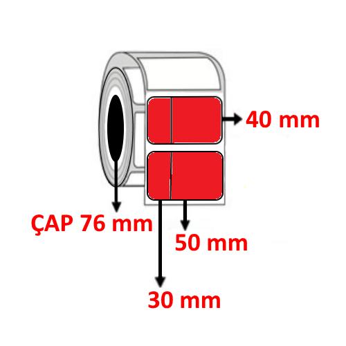 Kırmızı Renkli 80 mm x 40 mm (30/50) Barkod Etiketi ÇAP 76 mm ( 6 Rulo ) 18.000 ADET