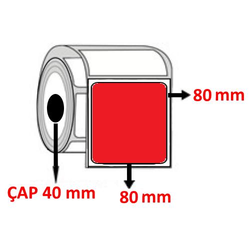 Kırmızı Renkli 80 mm x 80 mm  Barkod Etiketi ÇAP 40 mm ( 6 Rulo ) 4.200  ADET
