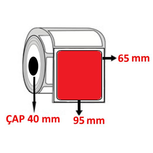 Kırmızı Renkli 95 mm x 65 mm Barkod Etiketi ÇAP 40 mm ( 6 Rulo )