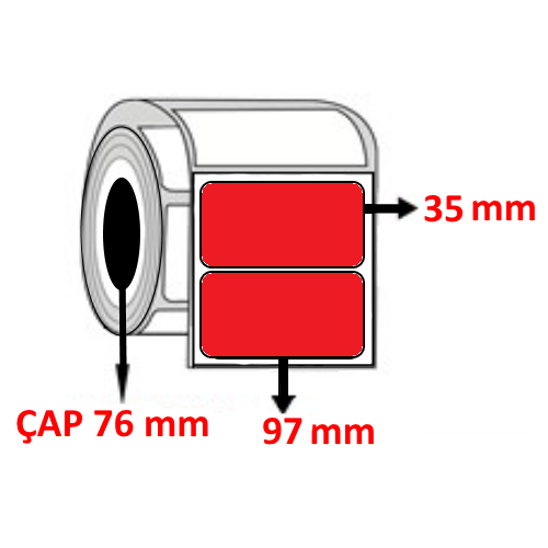 Kırmızı Renkli 97 mm x 35 mm Barkod Etiketi ÇAP 76 mm ( 6 Rulo )