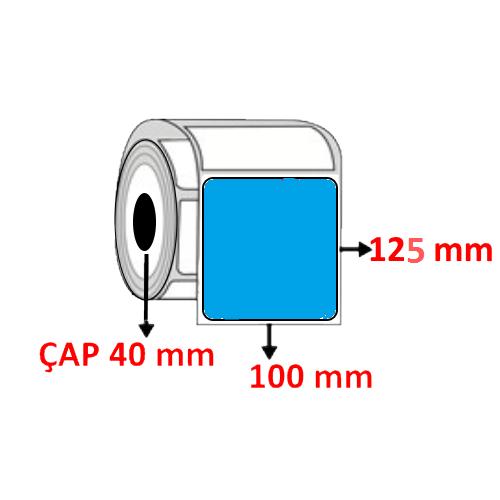 Mavi Renkli 100 mm x 125 mm Barkod Etiketi ÇAP 40 mm ( 6 Rulo ) 2.400 ADET
