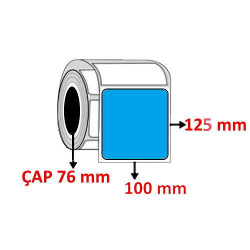 Mavi Renkli 100 mm x 125 mm Barkod Etiketi ÇAP 76 mm ( 6 Rulo )  7.200 ADET