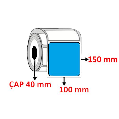 Mavi Renkli 100 mm x 150 mm Barkod Etiketi ÇAP 40 mm ( 6 Rulo ) 2.400 ADET