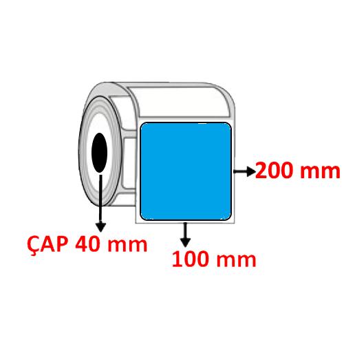 Mavi Renkli 100 mm x 200 mm Barkod Etiketi ÇAP 40 mm ( 6 Rulo ) 1.800 ADET