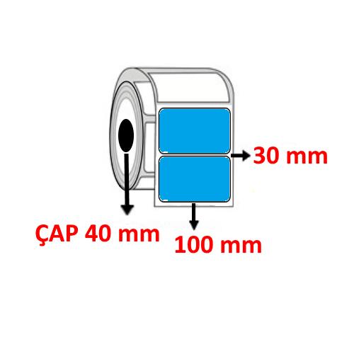 Mavi Renkli 100 mm x 30 mm Barkod Etiketi ÇAP 40 mm ( 6 Rulo ) 9.000 ADET