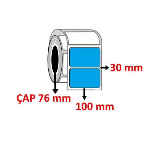Mavi Renkli 100 mm x 30 mm Barkod Etiketi ÇAP 76 mm ( 6 Rulo )