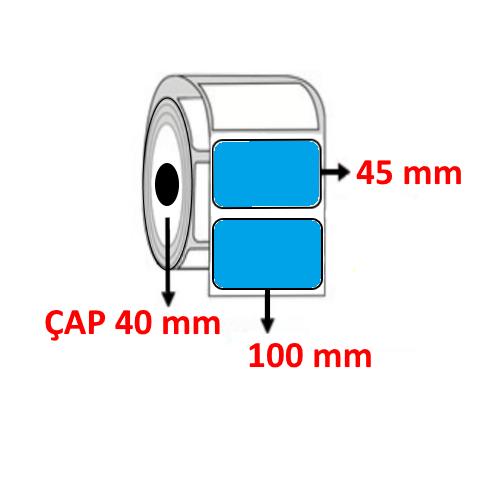 Mavi Renkli 100 mm x 45 mm Barkod Etiketi ÇAP 40 mm ( 6 Rulo ) 6.000 ADET