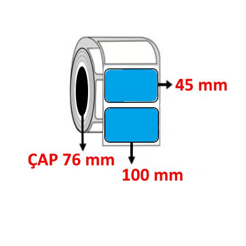 Mavi Renkli 100 mm x 45 mm Barkod Etiketi ÇAP 76 mm ( 6 Rulo ) 18.000 ADET