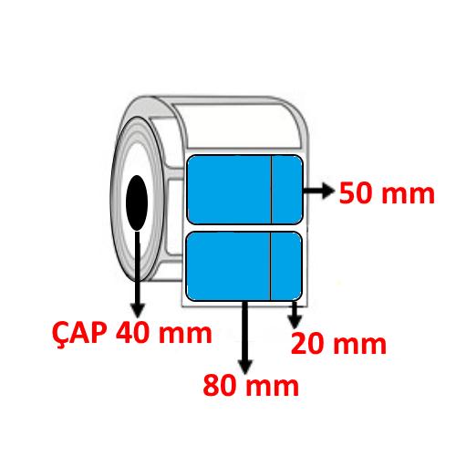 Mavi Renkli 100 mm x 50 mm (80+20) Barkod Etiketi ÇAP 40 mm ( 6 Rulo )