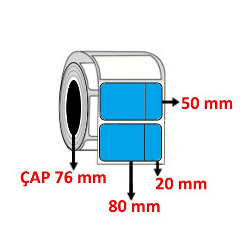 Mavi Renkli 100 mm x 50 mm (80+20) Barkod Etiketi ÇAP 76 mm ( 6 Rulo )