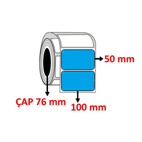 Mavi Renkli 100 mm x 50 mm Barkod Etiketi ÇAP 76 mm ( 6 Rulo )