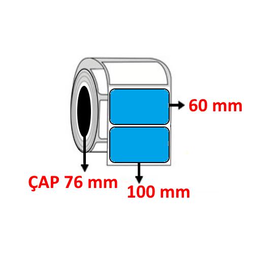 Mavi Renkli 100 mm x 60 mm Barkod Etiketi ÇAP 76 mm ( 6 Rulo )