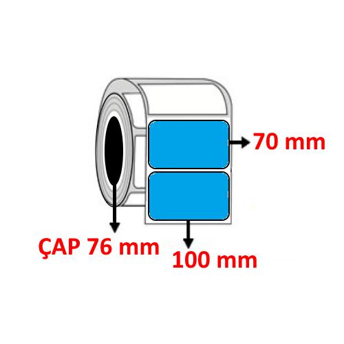 Mavi Renkli 100 mm x 70 mm Barkod Etiketi ÇAP 76 mm ( 6 Rulo ) 12.000 ADET