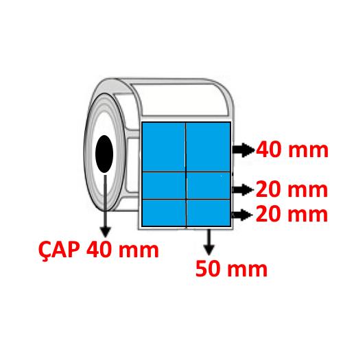Mavi Renkli 100 mm x 80 mm (50/40+20+20) Barkod Etiketi ÇAP 40 mm ( 6 Rulo )