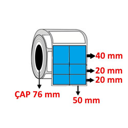 Mavi Renkli 100 mm x 80 mm (50/40+20+20) Barkod Etiketi ÇAP 76 mm ( 6 Rulo ) 12.000 ADET