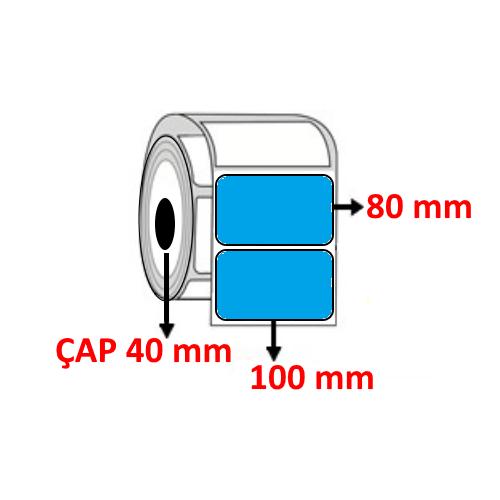 Mavi Renkli 100 mm x 80 mm Barkod Etiketi ÇAP 40 mm ( 6 Rulo )