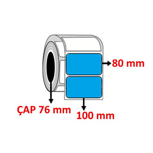 Mavi Renkli 100 mm x 80 mm Barkod Etiketi ÇAP 76 mm ( 6 Rulo )  6.000 ADET