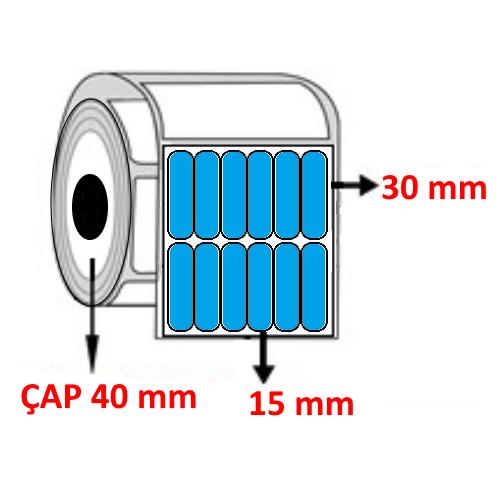 Mavi Renkli 15 mm x 30 mm YY6 Lİ Barkod Etiketi ÇAP 40 mm ( 6 Rulo )