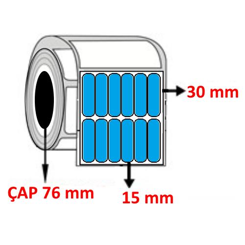 Mavi Renkli 15 mm x 30 mm YY6 Lİ Barkod Etiketi ÇAP 76 mm ( 6 Rulo ) 162.000 ADET