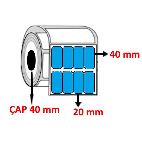 Mavi Renkli 20 mm x 40 mm YY4 LÜ Barkod Etiketi ÇAP 40 mm ( 6 Rulo )