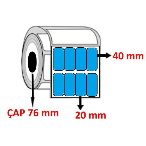 Mavi Renkli 20 mm x 40 mm YY4 LÜ Barkod Etiketi ÇAP 76 mm ( 6 Rulo )