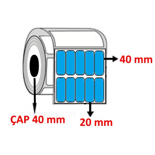 Mavi Renkli 20 mm x 40 mm YY5 Lİ Barkod Etiketi ÇAP 40 mm ( 6 Rulo ) 30.000 ADET