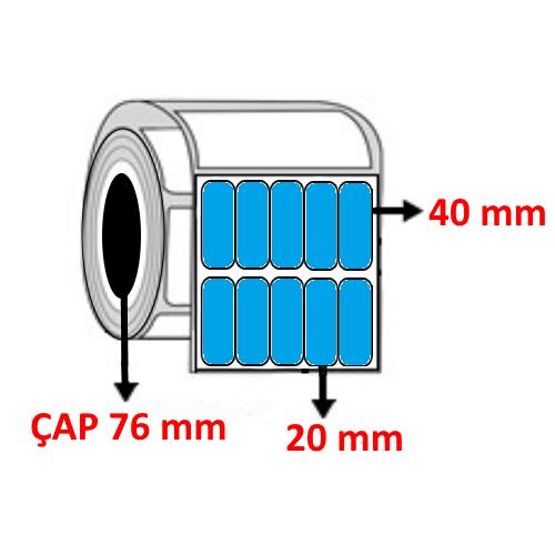 Mavi Renkli 20 mm x 40 mm YY5 Lİ Barkod Etiketi ÇAP 76 mm ( 6 Rulo )