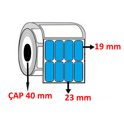 Mavi Renkli 23 mm x 19 mm YY4 LÜ Barkod Etiketi ÇAP 40 mm ( 6 Rulo )
