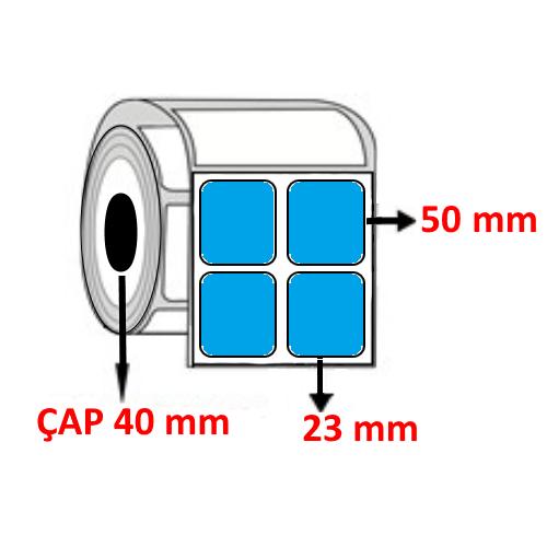 Mavi Renkli 23 mm x 50 mm YY2 Lİ Barkod Etiketi ÇAP 40 mm ( 6 Rulo )