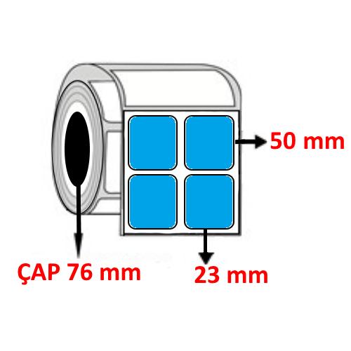 Mavi Renkli 23 mm x 50 mm YY2 Lİ Barkod Etiketi ÇAP 76 mm ( 6 Rulo ) 30.000 ADET