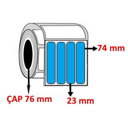 Mavi Renkli 23 mm x 74 mm YY4 LÜ Barkod Etiketi ÇAP 76 mm ( 6 Rulo )
