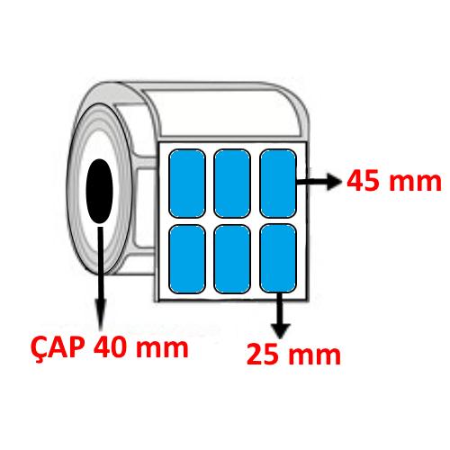 Mavi Renkli 25 mm x 45 mm YY3 LÜ Barkod Etiketi ÇAP 40 mm ( 6 Rulo ) 18.000 ADET