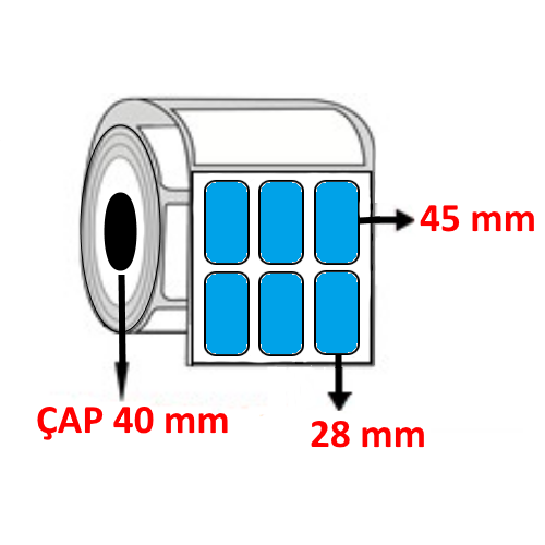 Mavi Renkli 28 mm x 45 mm YY3 LÜ Barkod Etiketi ÇAP 40 mm ( 6 Rulo ) 18.000 ADET