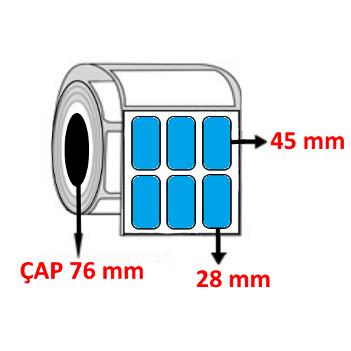 Mavi Renkli 28 mm x 45 mm YY3 LÜ Barkod Etiketi ÇAP 76 mm ( 6 Rulo )  45.000 ADET