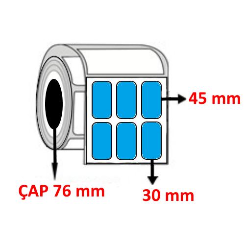 Mavi Renkli 30 mm x 45 mm YY3 LÜ Barkod Etiketi ÇAP 76 mm ( 6 Rulo )