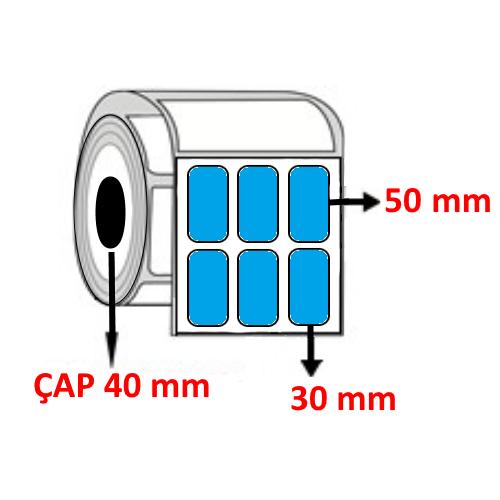 Mavi Renkli 30 mm x 50 mm YY3 LÜ Barkod Etiketi ÇAP 40 mm ( 6 Rulo )