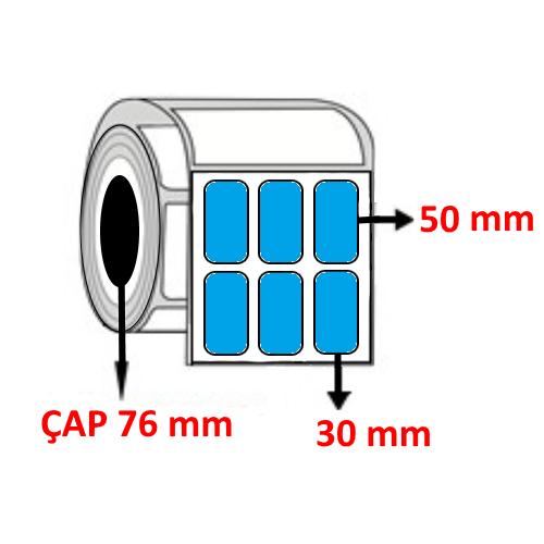 Mavi Renkli 30 mm x 50 mm YY3 LÜ Barkod Etiketi ÇAP 76 mm ( 6 Rulo )