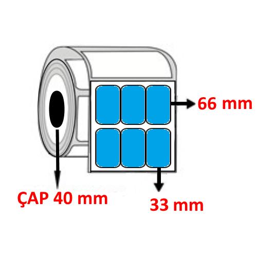 Mavi Renkli 33 mm x 66 mm YY3 LÜ Barkod Etiketi ÇAP 40 mm ( 6 Rulo )  18.000 ADET