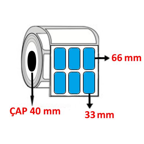 Mavi Renkli 33 mm x 66 mm YY3 LÜ Barkod Etiketi ÇAP 40 mm ( 6 Rulo )