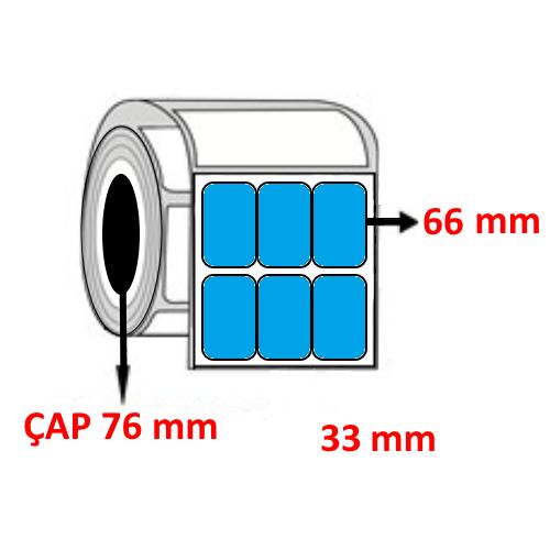 Mavi Renkli 33 mm x 66 mm YY3 LÜ Barkod Etiketi ÇAP 76 mm ( 6 Rulo )