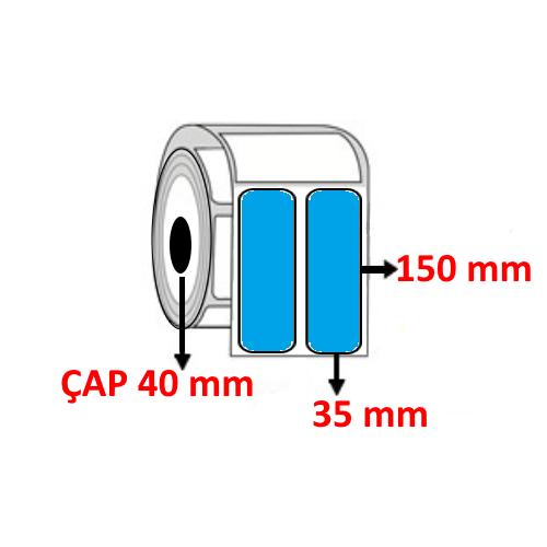 Mavi Renkli 35 mm x 150 mm YY2 Lİ Barkod Etiketi ÇAP 40 mm ( 6 Rulo )