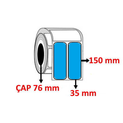 Mavi Renkli 35 mm x 150 mm YY2 Lİ Barkod Etiketi ÇAP 76 mm ( 6 Rulo ) 9.000 ADET